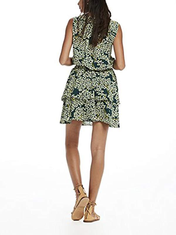 ea940ff45dd4f1 Scotch   Soda - Green Silky Feel Sleeveless Printed Summer Dress With  Double Layer Casual Clothes. View fullscreen