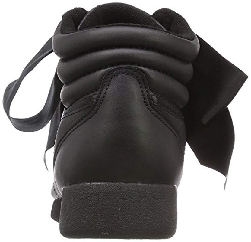 3fa935a2a1a Reebok - Black Freestyle Hi Satin Bow Top Trainers - Lyst. View fullscreen