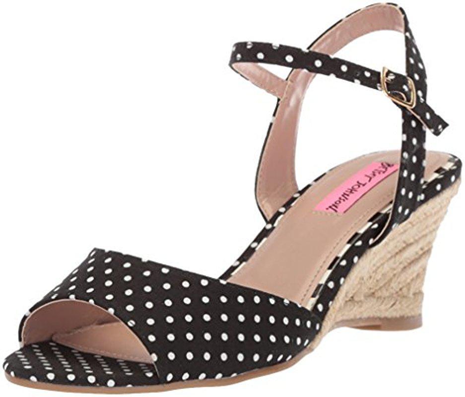 Betsey Johnson Athena Polka Dot Espadrille Wedge Sandals HBCqb