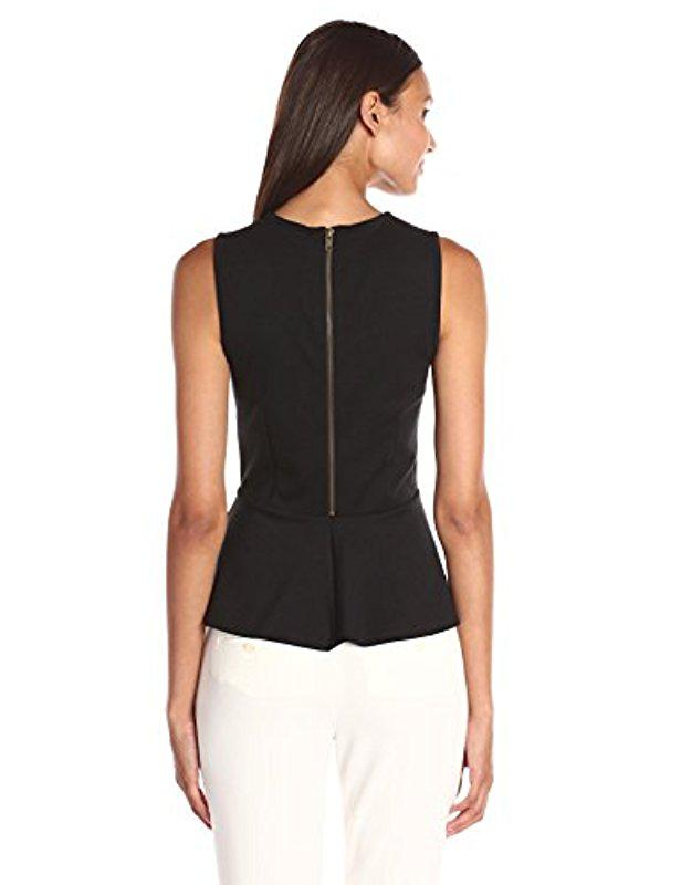 51d1290b3c0712 Lyst - Lark   Ro Ponte Sleeveless Peplum Top in Black