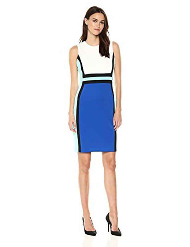 1c3273c20ef Lyst - Calvin Klein 205W39Nyc Sleeveless Color Block Sheath Dress in ...