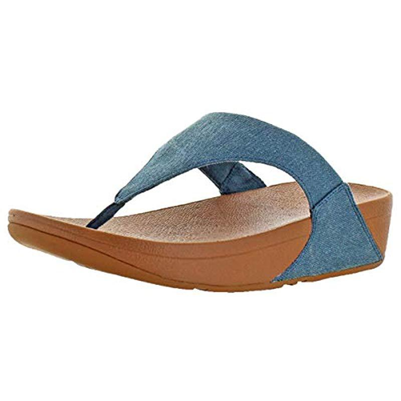 3697d199afe Lyst - Fitflop Lulu Toe-thong Sandals-shimmer-denim Flip-flop in ...