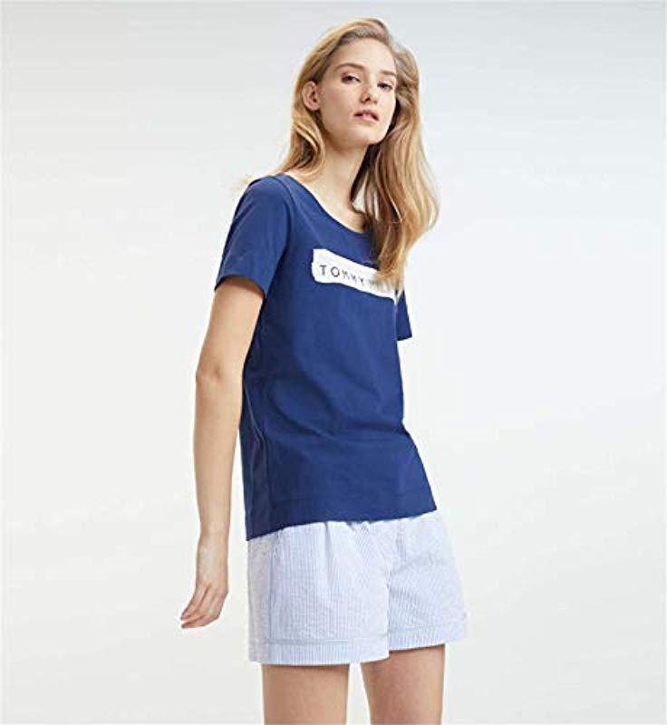 e7e28a72b Tommy Hilfiger Billie Round-nk Tee Ss T-shirt in Blue - Lyst