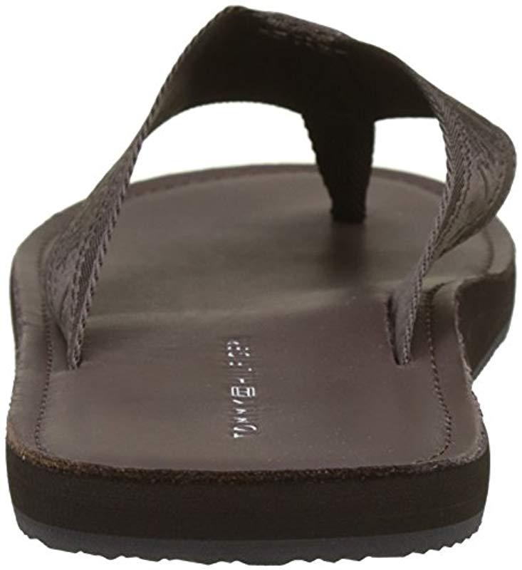 83c995da1f7f Tommy Hilfiger Jacquard Th Leather Beach Sandal Flip Flops in Brown ...