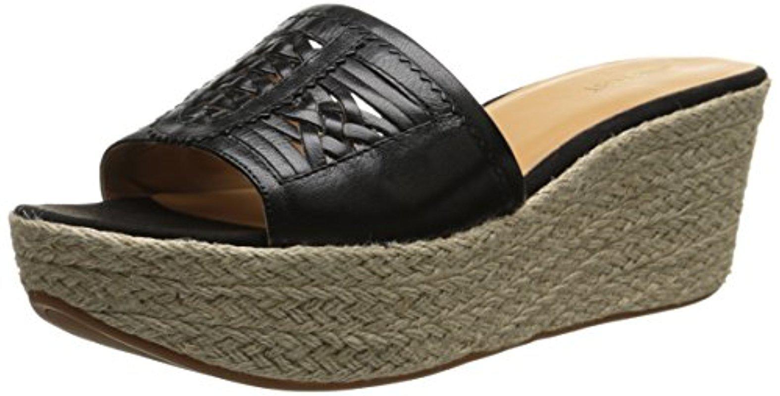 Nine West. Women's Black Raptor Leather Platform Sandal