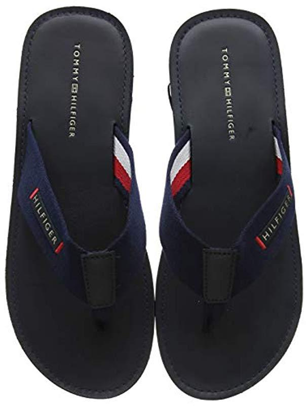 3d7a5b632bba Tommy Hilfiger - Blue Elevated Leather Beach Sandal Flip Flops for Men -  Lyst. View fullscreen