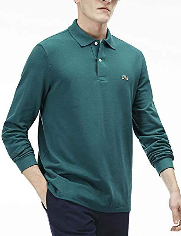 c5607f86 Lyst - Lacoste Long Sleeve Classic Pique L.12.12 Original Fit Polo Shirt in  Green for Men