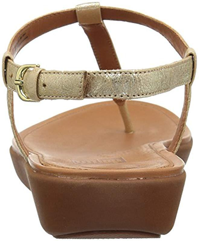 2bf48efa96d Fitflop  s Tia Thong Leather Open Toe Sandals in Metallic - Lyst