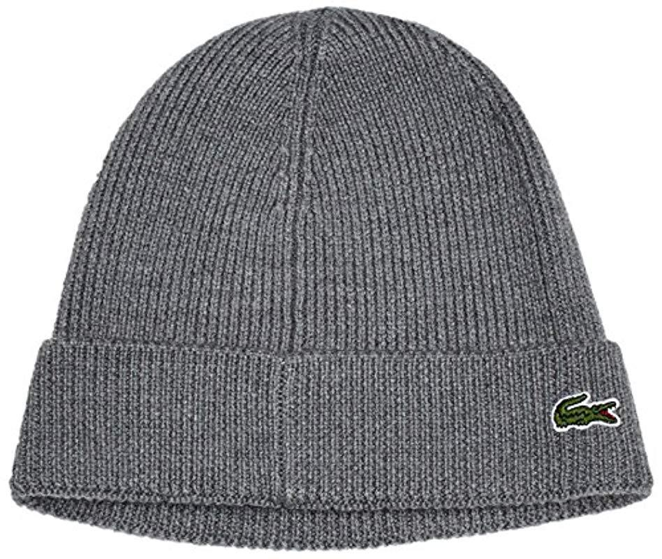 8948e507fc781 Lacoste Ribbed Beanie With Flap Accessories in Gray for Men - Lyst