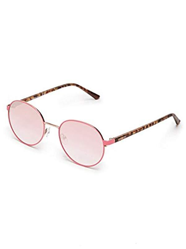 a74016bcb Lyst - Guess Adrian Eye Candy Round Sunglasses in Pink
