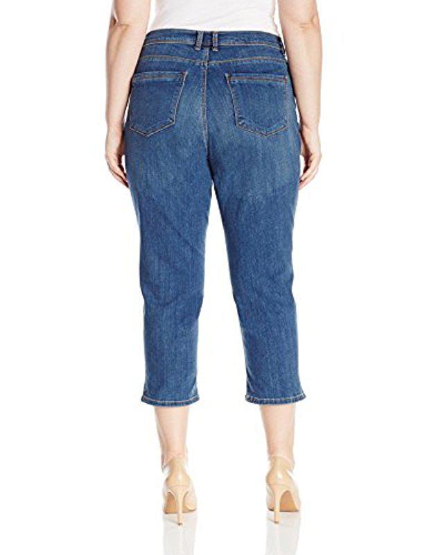 cc7a7e9c7de7f Lyst - Lee Jeans Plus Size Easy Fit Cameron Cuffed Capri Jean in Blue