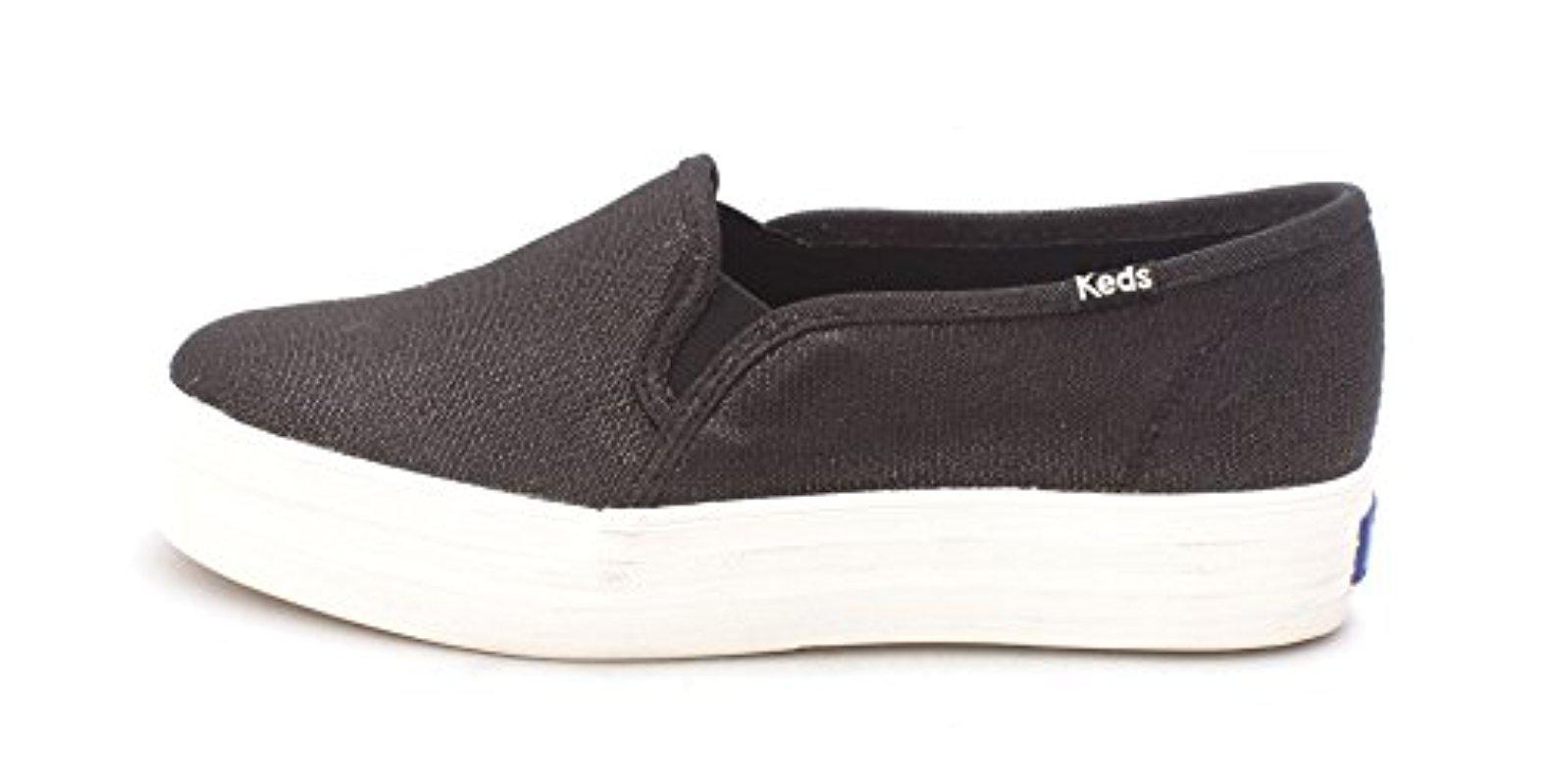 Keds. Women's Black Triple Decker Metallic Canvas Fashion Sneaker