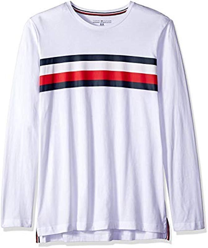 93dd3fbb Tommy Hilfiger. Men's White Modern Essentials Cotton Jersey Crew Neck Long  Sleeve Shirt