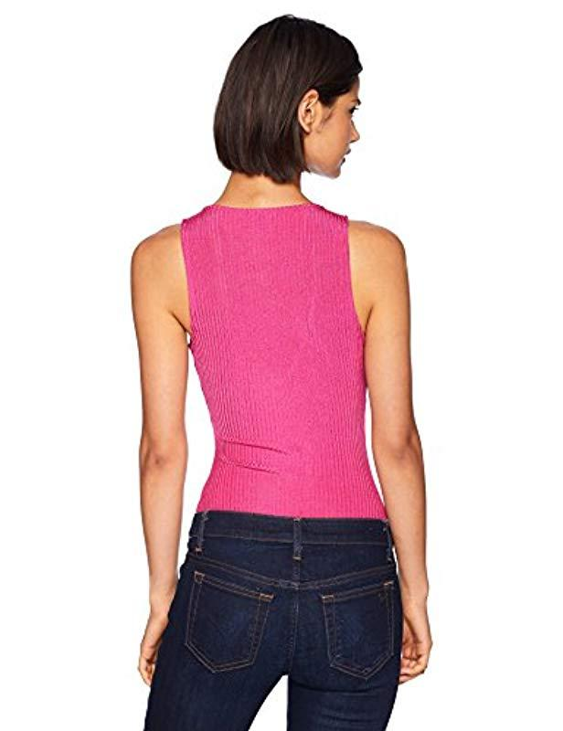 14aafe7ab5f09 Lyst - Guess Sleeveless Nev Bodysuit in Pink - Save 5%