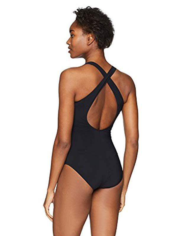 2ccd8ed8794f8 Lyst - Gottex Textured Contrast Solid Scoop Neck One Piece Swimsuit in  Black - Save 60%