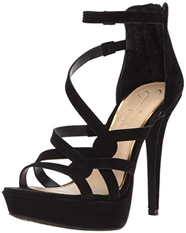 f4f5cc8f1ef Lyst - Jessica Simpson Bellanne Heeled Sandal in Black - Save 37%