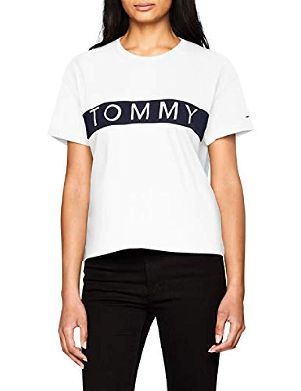941d59056b4c4a Tommy Hilfiger Tommy Bold Logo Crew Neck Vest in White - Lyst