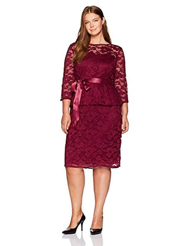 Lyst Chetta B 34 Sleeve Plus Size Lace Peplum Dress In Red Save 11