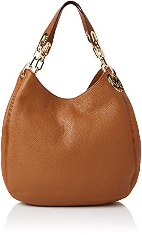 4a242243eaa9 Michael Kors. Women s Brown Large Fulton Acorn Leather Shoulder Tote Bag