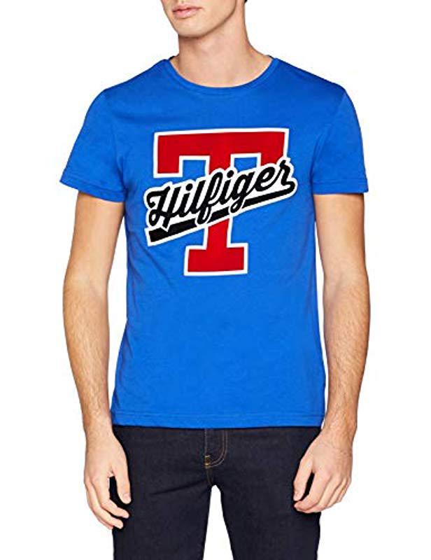 28b3dac8 Tommy Hilfiger T-script Logo Tee T-shirt in Blue for Men - Lyst
