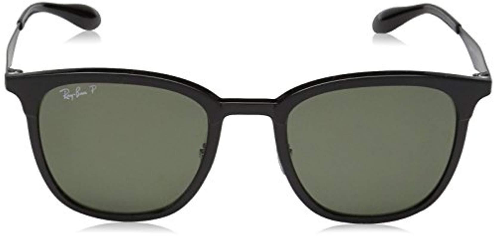 98b27904c6 Ray-Ban Two Tone Fine Square Sunglasses In Black Matte Black ...