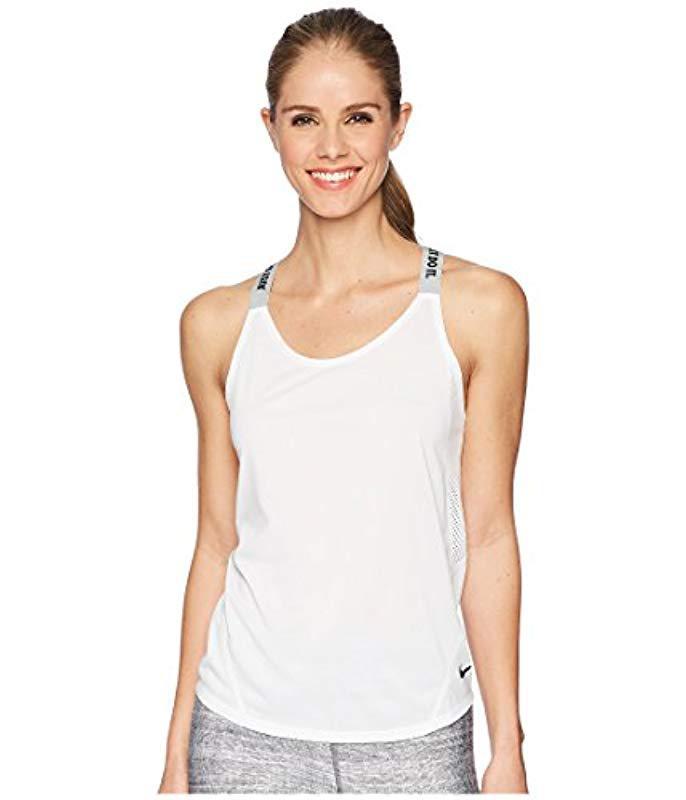 Nike W Nk Dry Elastka Sports Tank Top in White - Lyst ffaf26b78c8