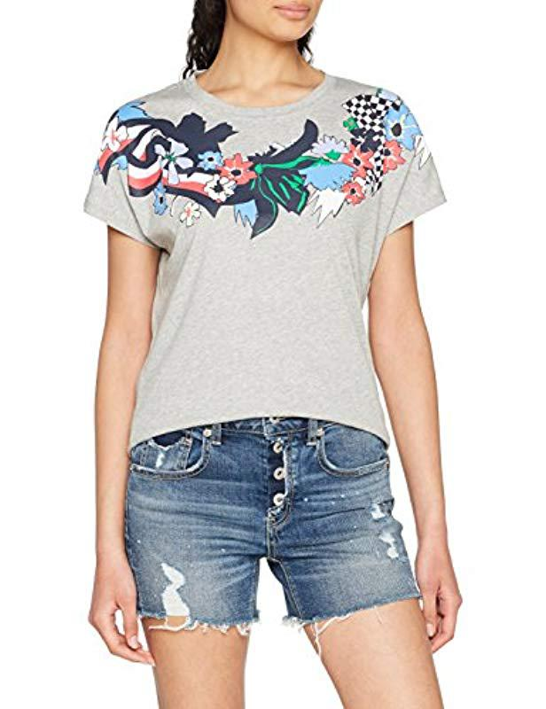 4530947e Tommy Hilfiger Carma Floral Tee Ss T-shirt in Gray - Lyst
