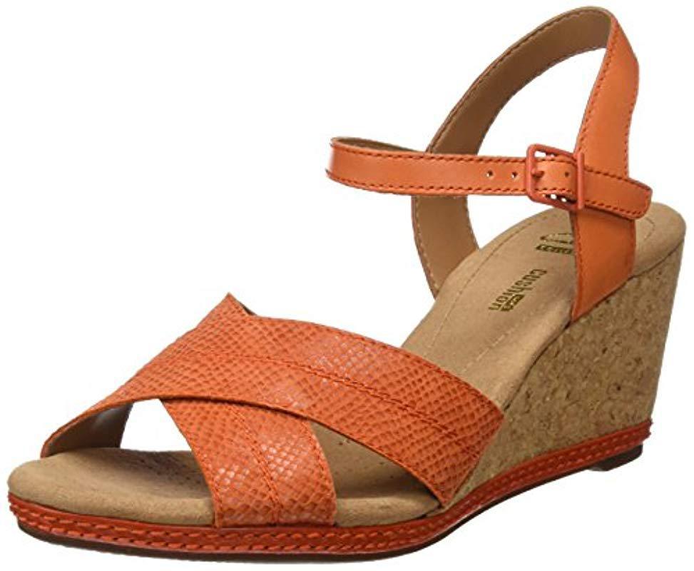 3c0a52caab2 Clarks  s Helio Latitude Wedge Heels Sandals in Orange - Lyst
