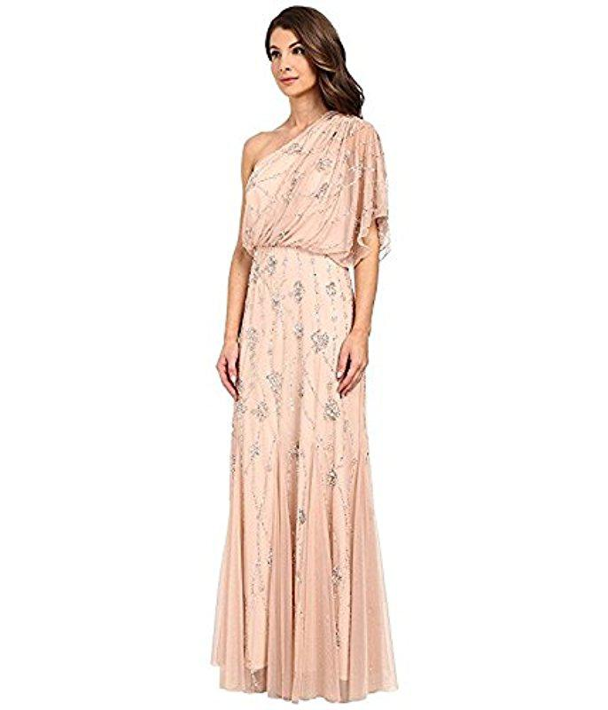 Lyst - Adrianna Papell One Shoulder Beaded Blouson Dress in Pink