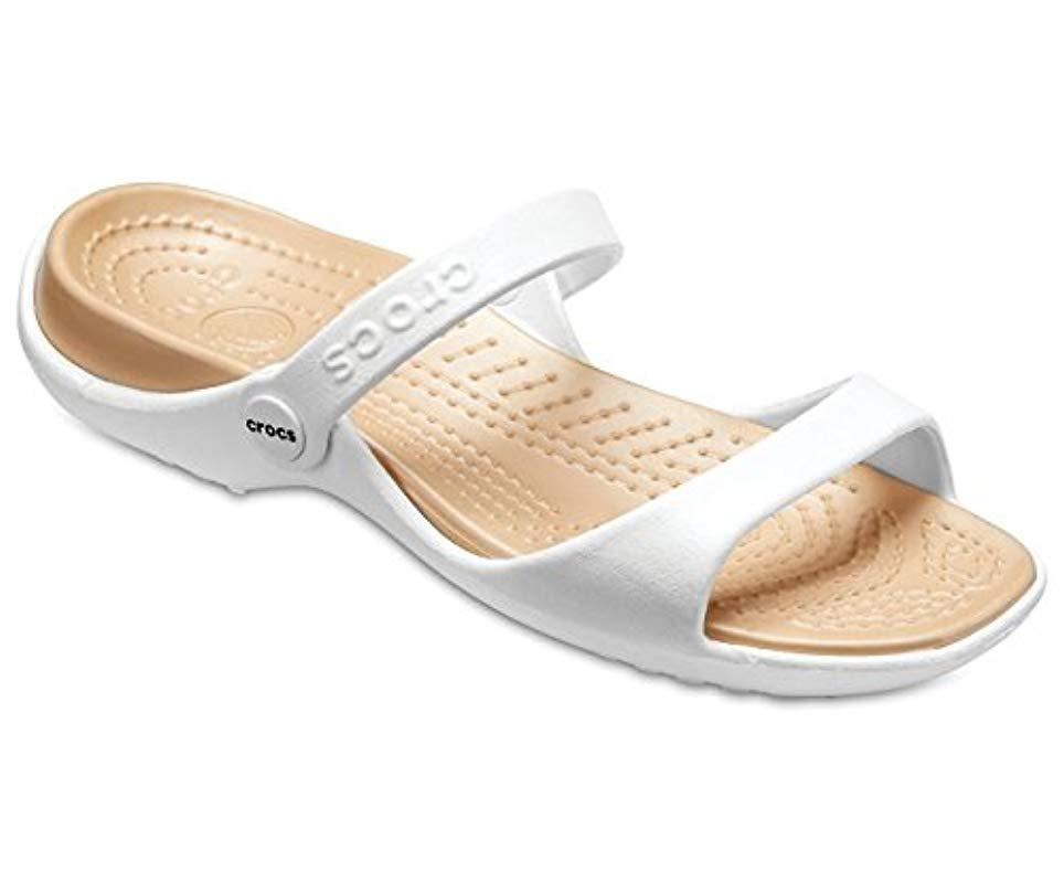 833b2d6c76d4 Crocs™ Cleo Open Toe Sandals in Metallic - Lyst
