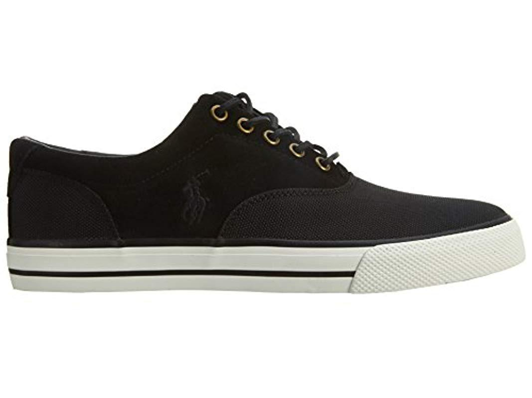 Ralph Sneaker In Black Polo Fashion Lauren For Saddle Lyst Vaughn TK31JlFc