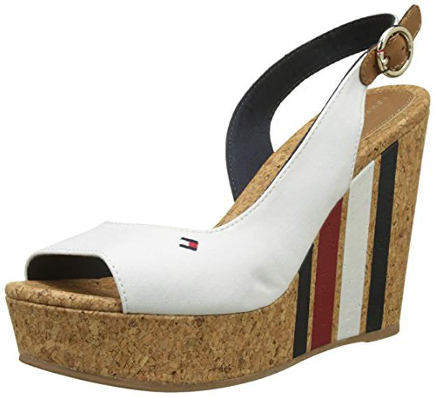 Tommy Hilfiger Wedge With Printed Stripes Espadrilles in White - Lyst e7d5af8012a