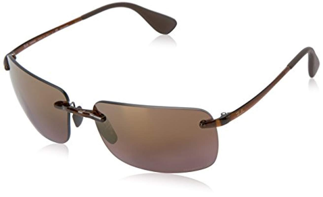 00536105a2 Ray-Ban. Men s Black Rectangle Rimless Sunglasses In Brown Purple Mirror  Chromance ...