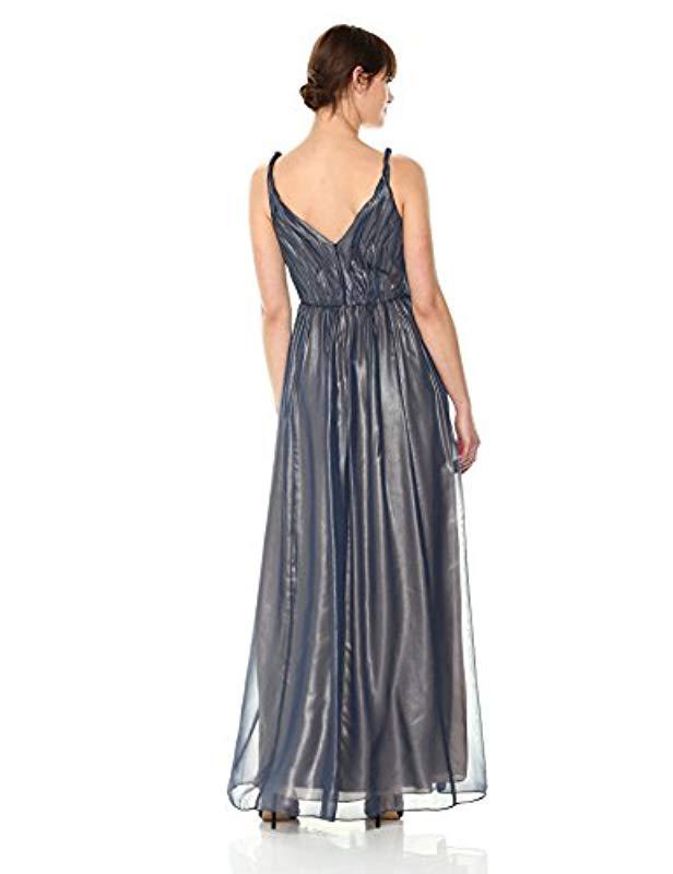 e33a16307e1e Lyst - Vera Wang Sleeveless Metallic Chiffon Gown in Blue - Save 18%