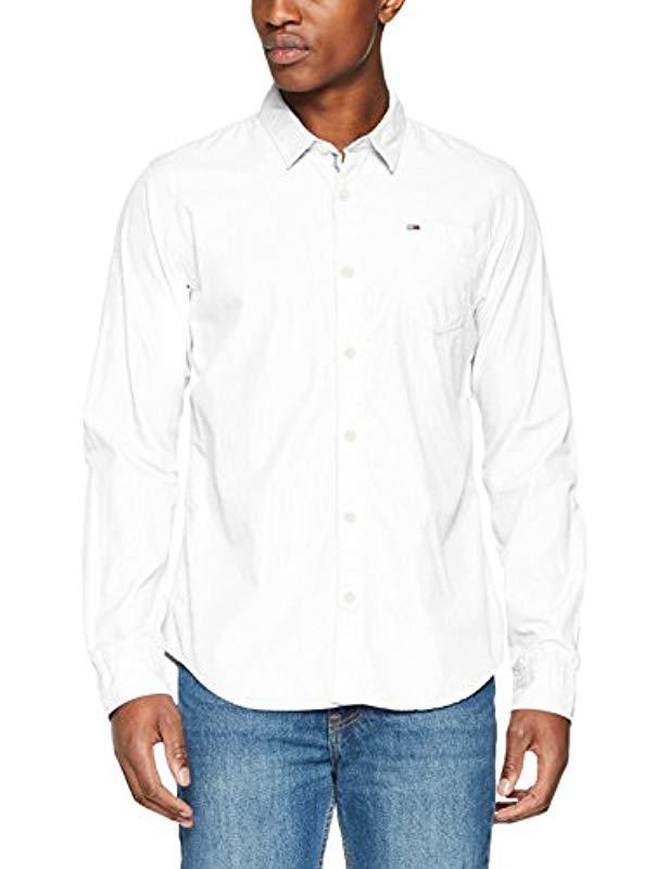 85b81b1f Tommy Hilfiger. Men's White Original End On End Long Sleeve Classic Casual  Shirt
