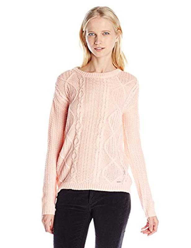 Lyst Us Polo Assn Juniors Chunky Knit Pullover Sweater In Pink