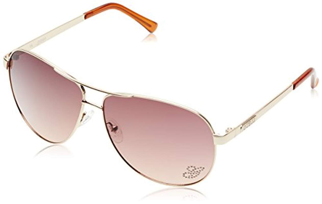 e885ae4c7 Lyst - Guess Metal Oversize Aviator Sunglasses, Gld-34, 63 Mm