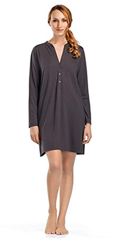 Lyst - Hanro Sleep And Lounge Long Sleeve Gown in Gray