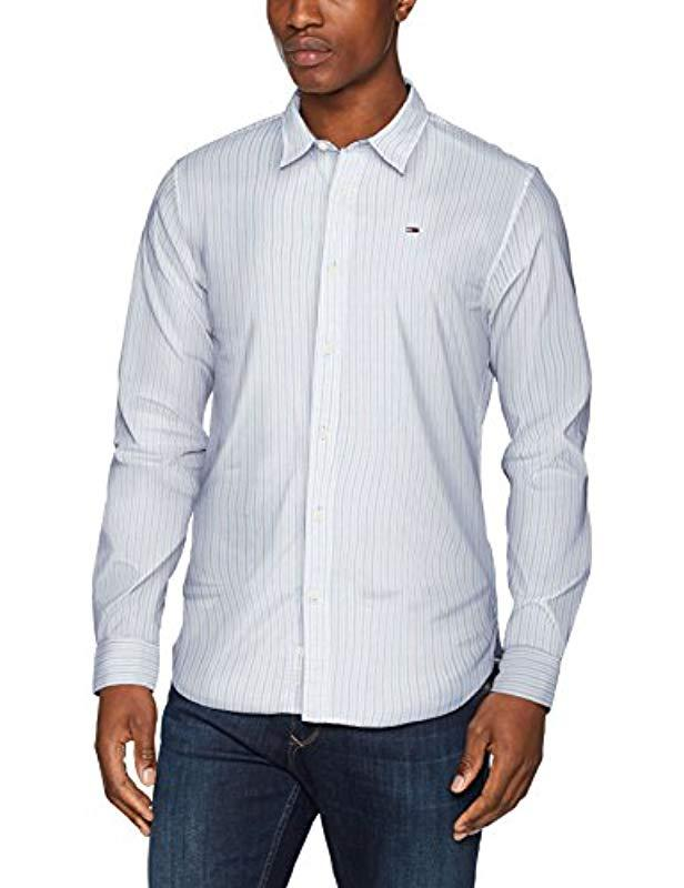 a6cc7bc26b1190 Tommy Hilfiger Striped Classic Casual Shirt in White for Men - Lyst