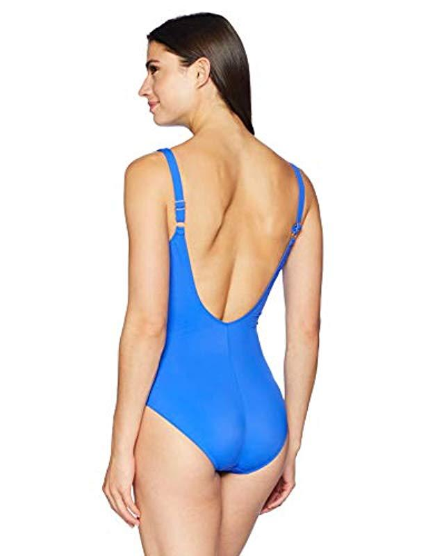 e7bbf7a09673d Lyst - Gottex Draped Panel Sweetheart Square Neck One Piece Swimsuit in  Blue - Save 31%