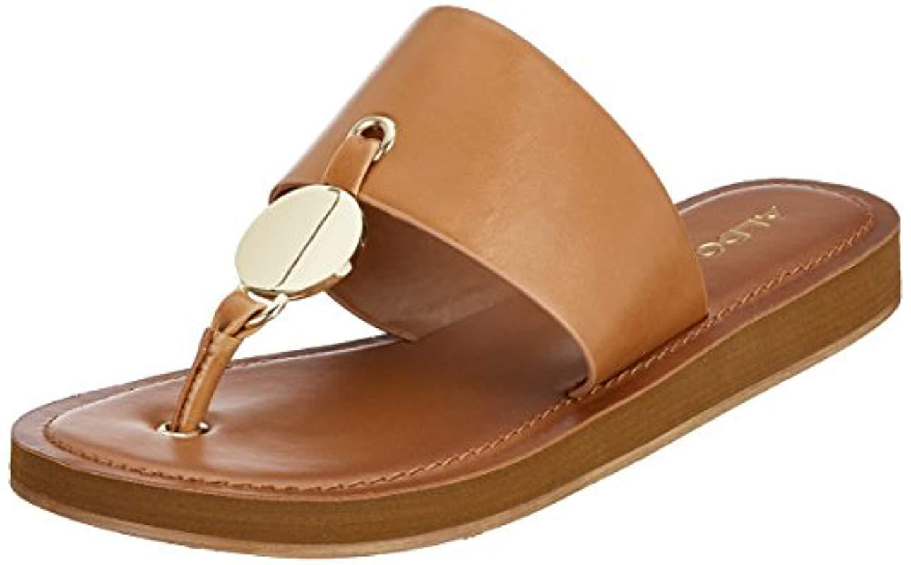 7d35eee7854e ALDO Yilania Coin Slide Sandals in Brown - Lyst