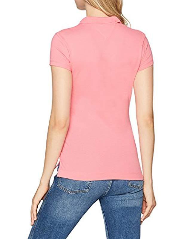Tommy Hilfiger New Chiara Str Pq Polo Ss Shirt in Pink - Lyst 95e2a708c0