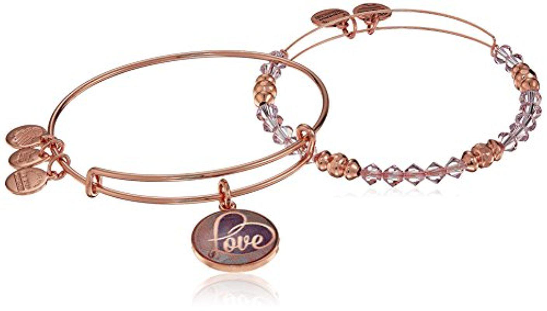 Alex and Ani Women's Art Infusion, Love Set of 2 Bangle Bracelet, Shiny Rose, Expandable