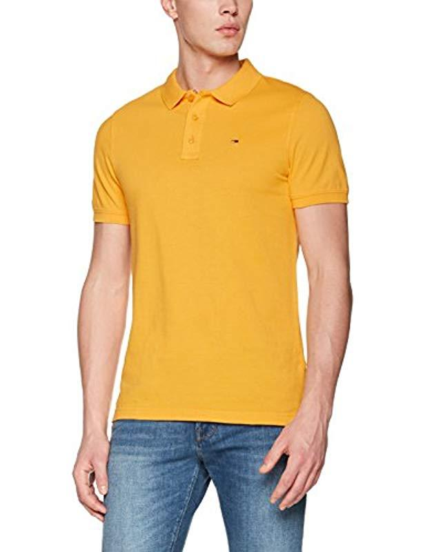 491d5b37bb34 Tommy Hilfiger Basic Short Sleeve Polo Shirt in Yellow for Men - Lyst
