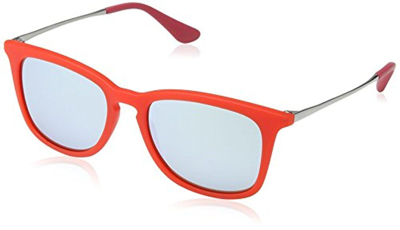 16240ba983 ... shop lyst ray ban jr. kids rj9063s square sunglasses 48mm in red 01268  e9f08
