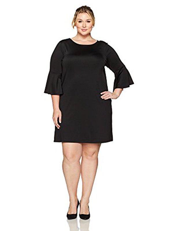 Lyst Kasper Plus Size Long Bell Sleeve Dress In Black
