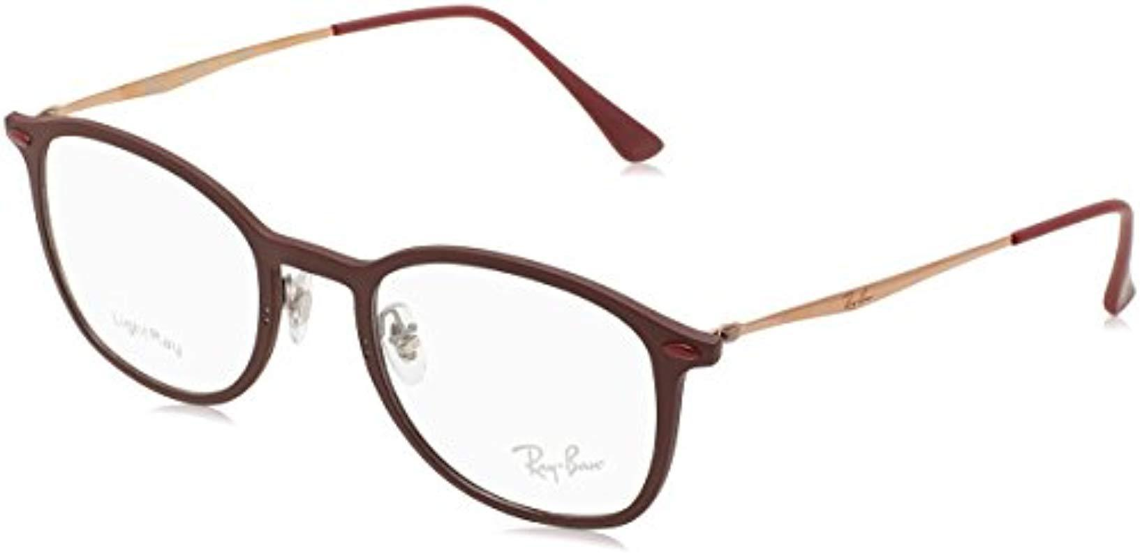 Ray-Ban 0rx 7051 5689 49 Optical Frames, Red (matte Bordo) in Red - Lyst 95bac408478c