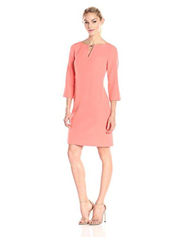 Lyst - Adrianna Papell Petite Three Quarter-sleeve Crepe Shift Dress ...