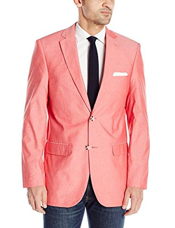 4d26aeb0b8 Lyst - Perry Ellis Red Chambray Sport Coat in Red for Men