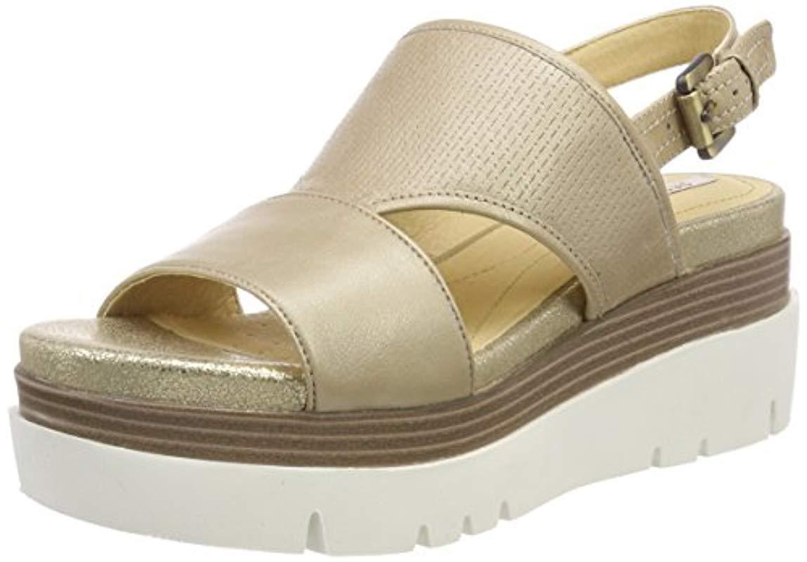 17105abcfe4 Geox  s D Radwa B Platform Sandals in Natural - Lyst